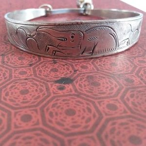 Vintage Silver Boho Elephant Bracelet